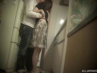Hottest Asian girl kneels down for the rock-solid sausage