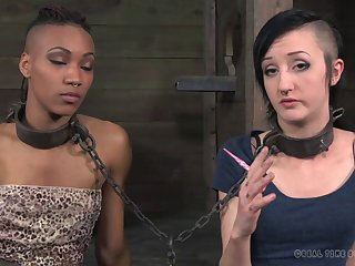 Tattooed small tits slave yells when tortured in BDSM porn