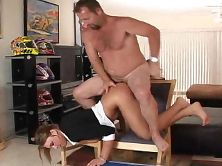 She's dressed for work but instead has incredible hardcore sex with a big dick pummeling her.