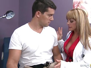The horny doctor sucks her big cock patient and he plows her sexy wet pussy hard.