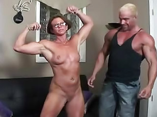 Miss Hot Butt wants to work out her pussy. Watch this MILF with muscles wearing glasses and getting her shaved pussy nailed on the sofa.