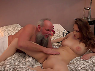 Antonia Sainz spreds her legs for an eldery hunk's cock