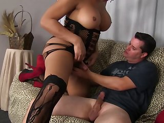 Huge tits trans beauty ass fucked by a short white guy