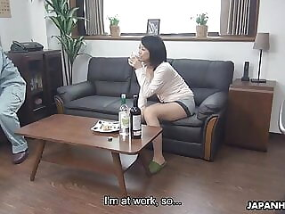 Japanese brunette slut, Asuka is fucking a shy handyman, unc
