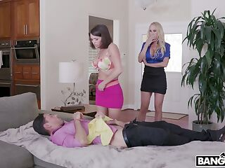 Young dude enjoys fucking super busty stepmom and sexy stepdaughter