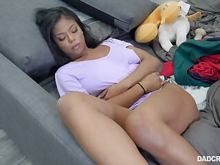 Sleeping ebony stepdaughter Nia Nacci teases daddy with pussy spreading legs wide open