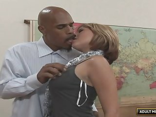 Babe gets the job by fucking her big black cock boss